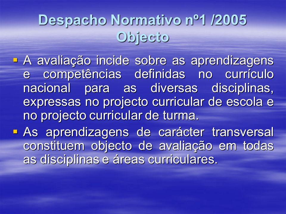 Despacho Normativo nº1 /2005 Objecto