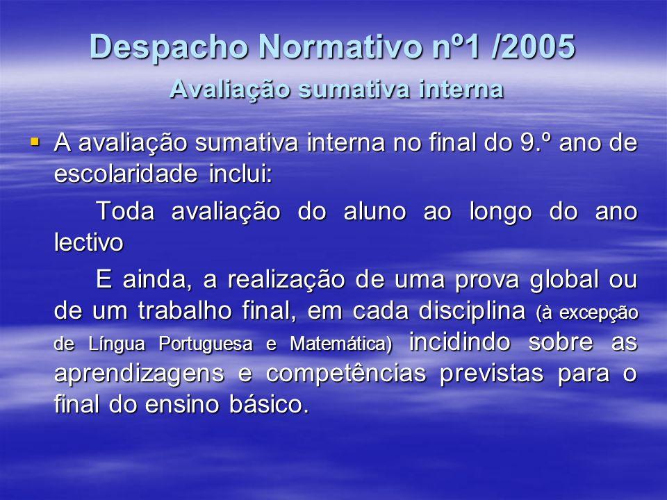 Despacho Normativo nº1 /2005 Avaliação sumativa interna