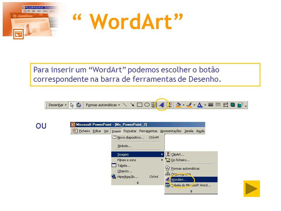 WordArt Para inserir um WordArt podemos escolher o botão correspondente na barra de ferramentas de Desenho.