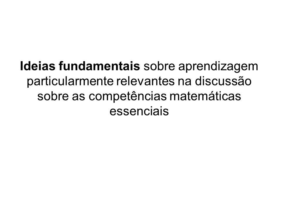 Ideias fundamentais sobre aprendizagem particularmente relevantes na discussão sobre as competências matemáticas essenciais