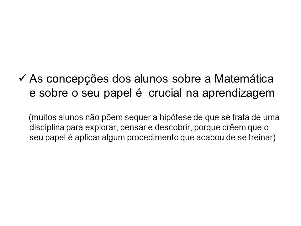 As concepções dos alunos sobre a Matemática e sobre o seu papel é crucial na aprendizagem