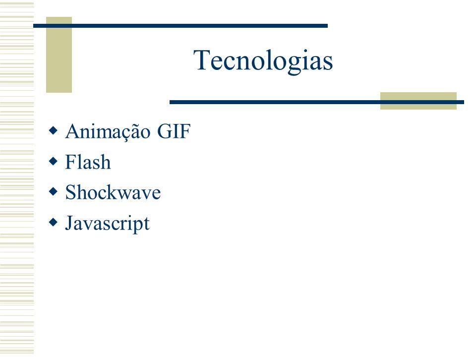 Tecnologias Animação GIF Flash Shockwave Javascript
