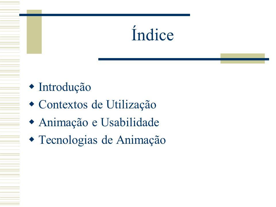 Índice Introdução Contextos de Utilização Animação e Usabilidade