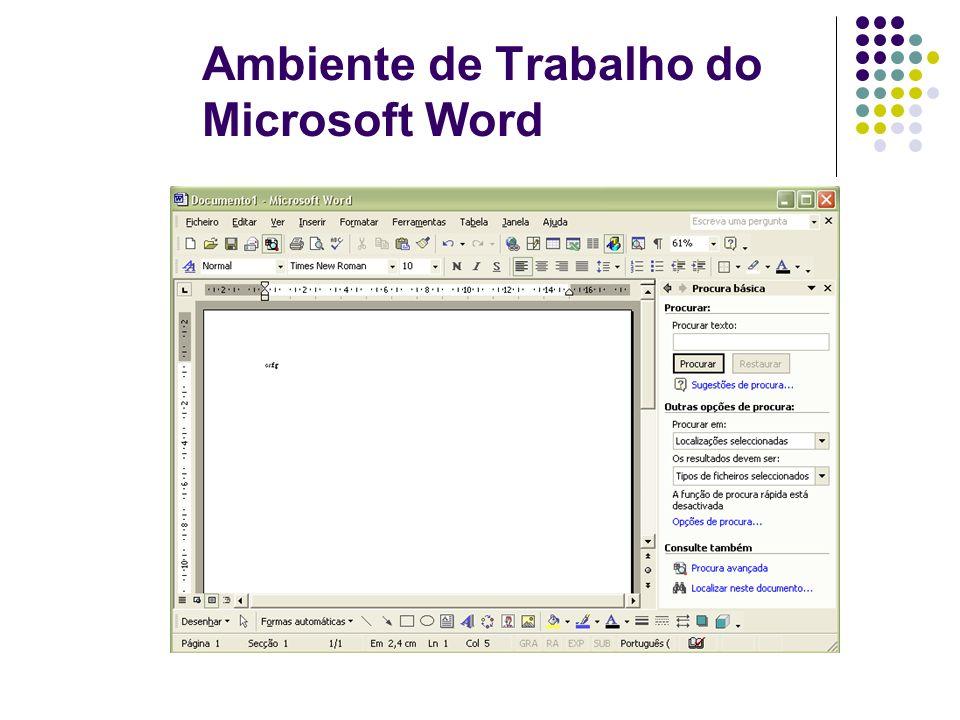 Ambiente de Trabalho do Microsoft Word