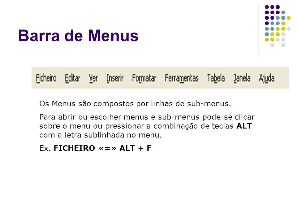 Barra de Menus Os Menus são compostos por linhas de sub-menus.