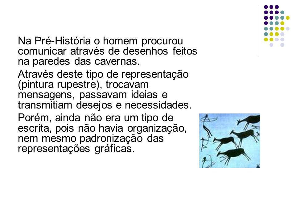 Na Pré-História o homem procurou comunicar através de desenhos feitos na paredes das cavernas.