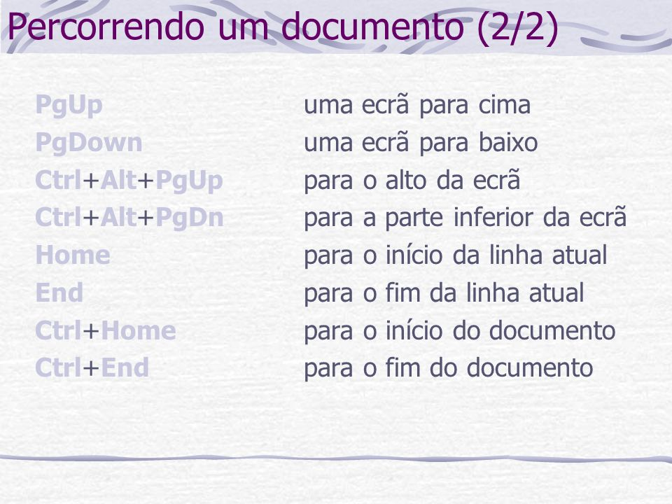 Percorrendo um documento (2/2)