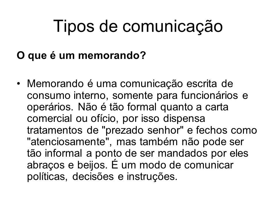 Tipos de comunicação O que é um memorando