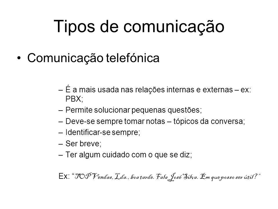 Tipos de comunicação Comunicação telefónica