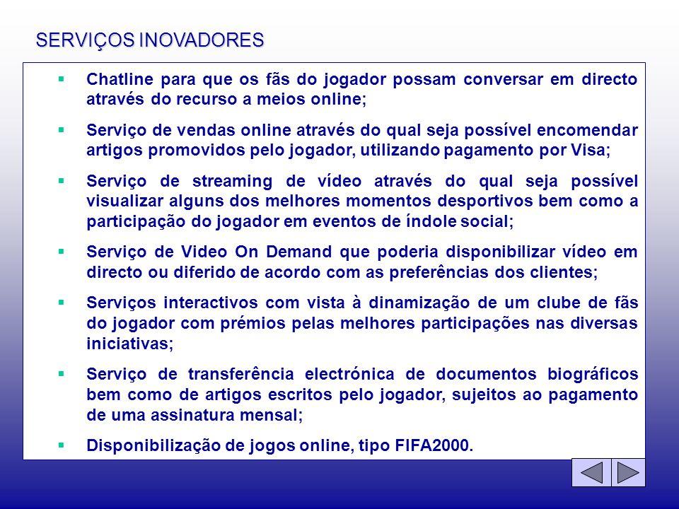 SERVIÇOS INOVADORESChatline para que os fãs do jogador possam conversar em directo através do recurso a meios online;