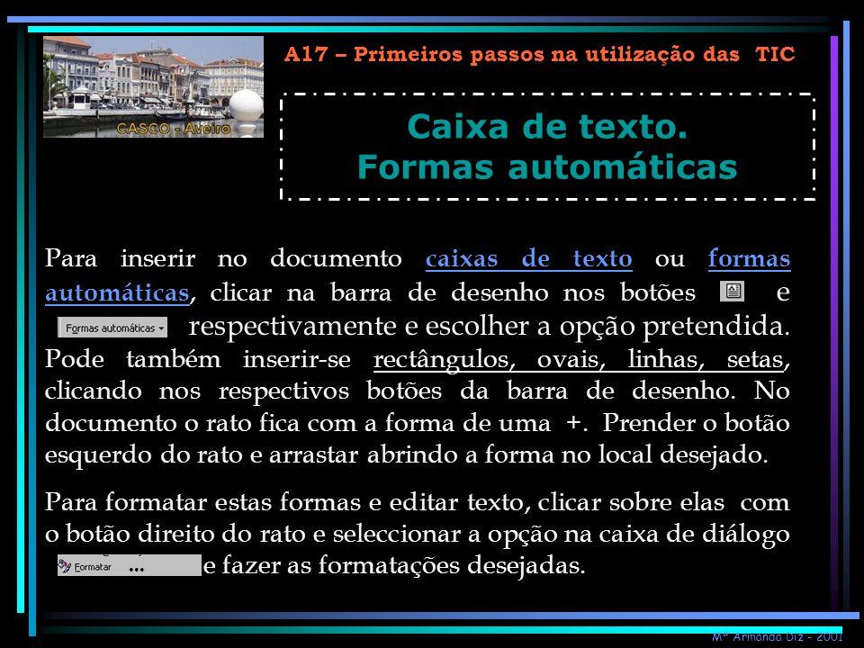 Caixa de texto. Formas automáticas