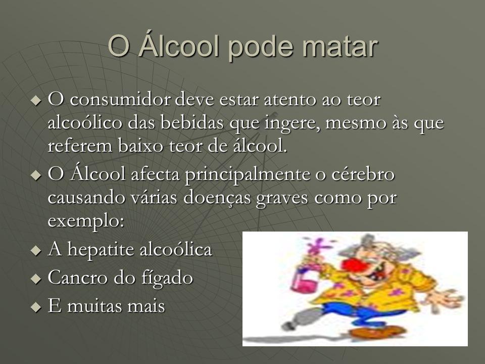 O Álcool pode matarO consumidor deve estar atento ao teor alcoólico das bebidas que ingere, mesmo às que referem baixo teor de álcool.