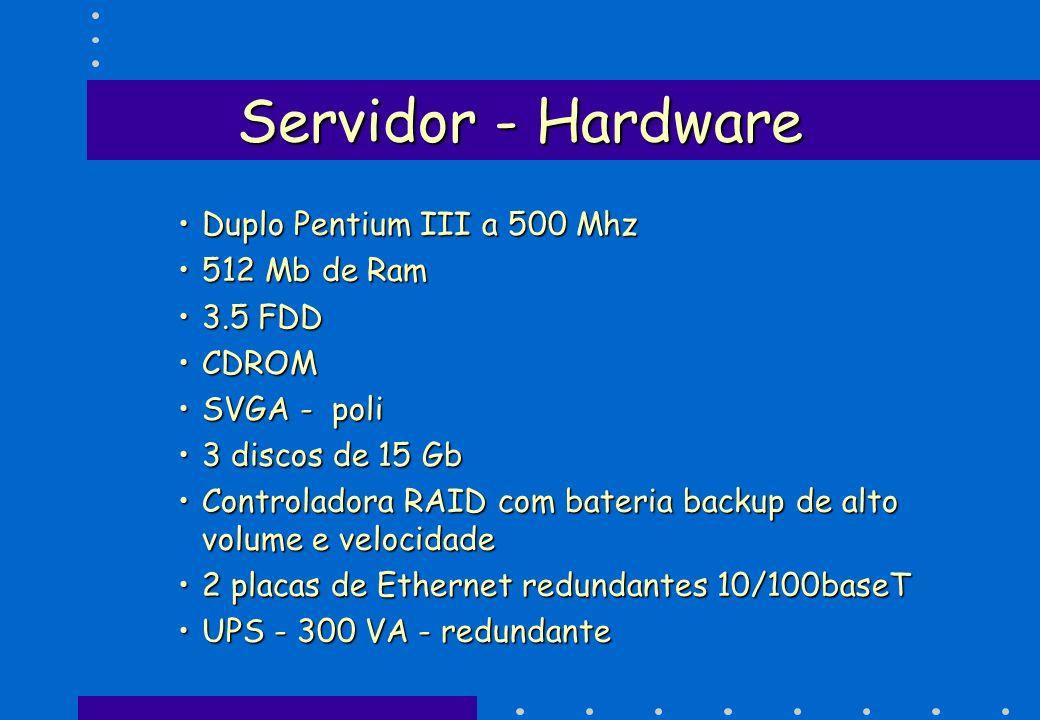 Servidor - Hardware Duplo Pentium III a 500 Mhz 512 Mb de Ram 3.5 FDD