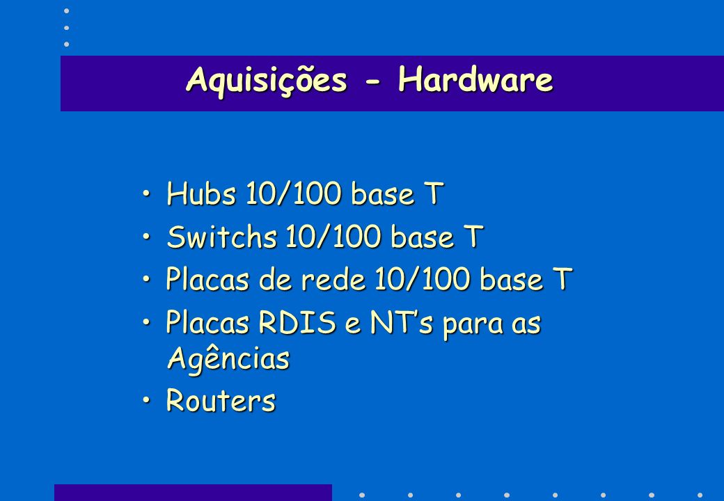 Aquisições - Hardware Hubs 10/100 base T Switchs 10/100 base T