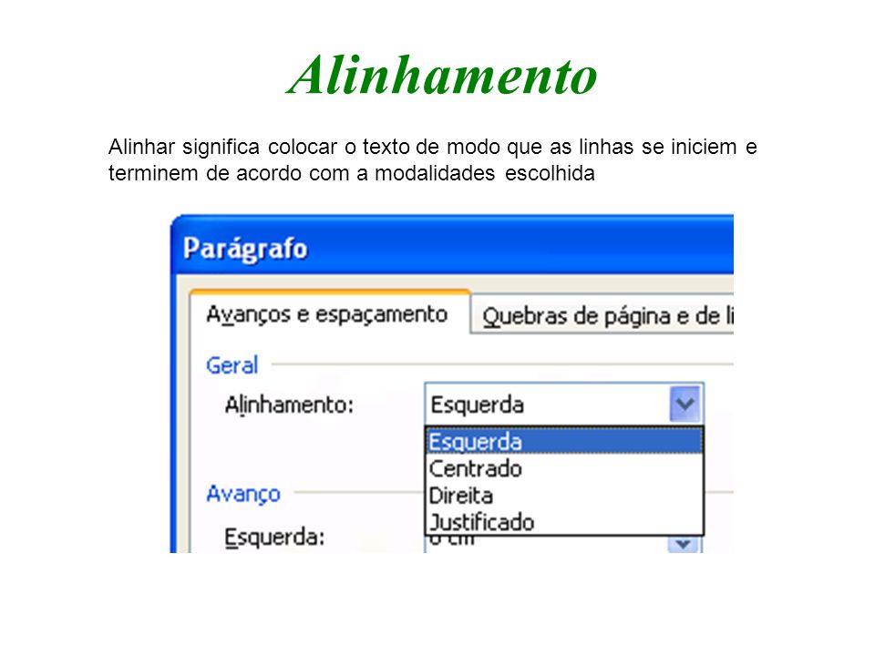 Alinhamento Alinhar significa colocar o texto de modo que as linhas se iniciem e terminem de acordo com a modalidades escolhida.