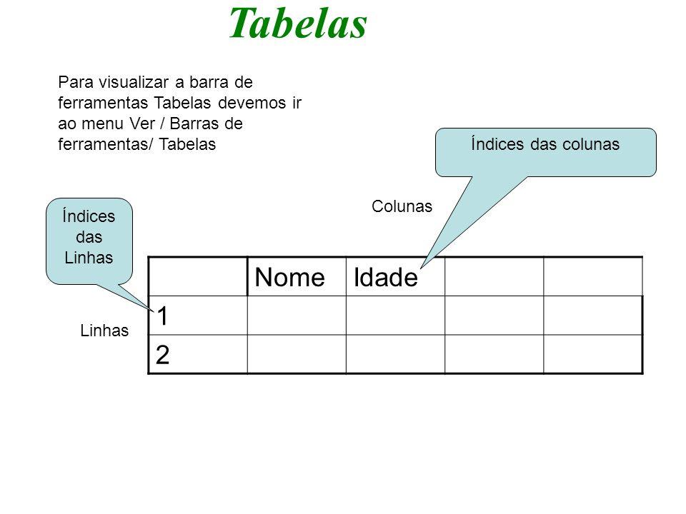Tabelas Para visualizar a barra de ferramentas Tabelas devemos ir ao menu Ver / Barras de ferramentas/ Tabelas.