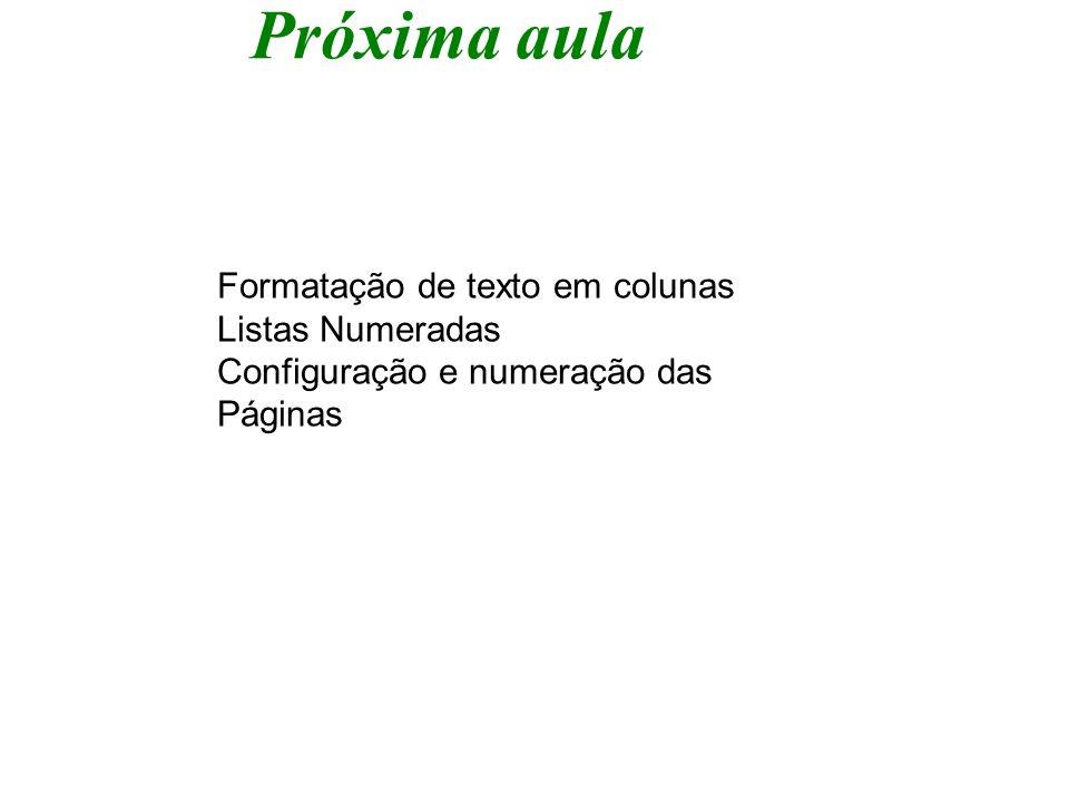 Próxima aula Formatação de texto em colunas Listas Numeradas