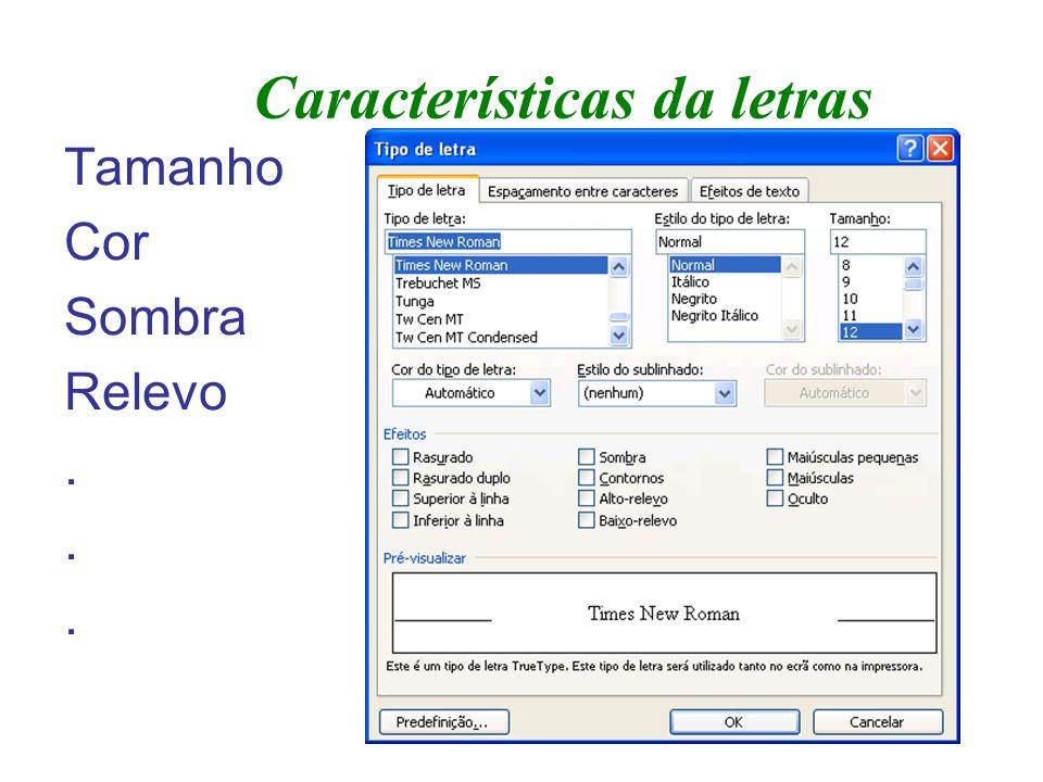 Características da letras