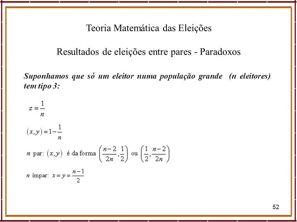 Teoria Matemática das Eleições Resultados de eleições entre pares - Paradoxos