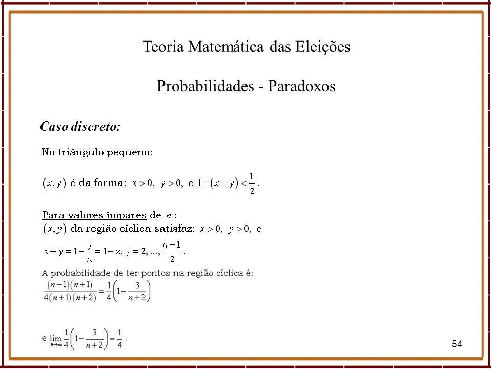 Teoria Matemática das Eleições Probabilidades - Paradoxos