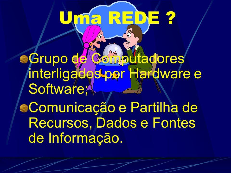 Uma REDE Grupo de Computadores interligados por Hardware e Software;