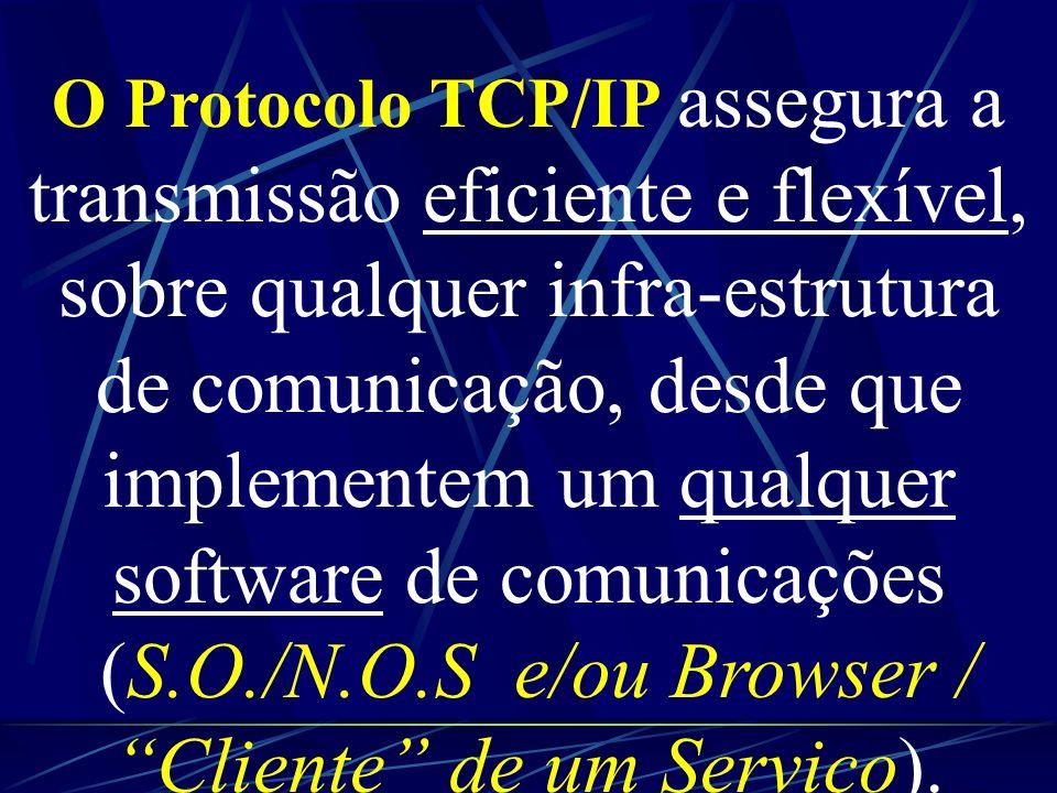 O Protocolo TCP/IP assegura a transmissão eficiente e flexível, sobre qualquer infra-estrutura de comunicação, desde que implementem um qualquer software de comunicações (S.O./N.O.S e/ou Browser / Cliente de um Serviço).