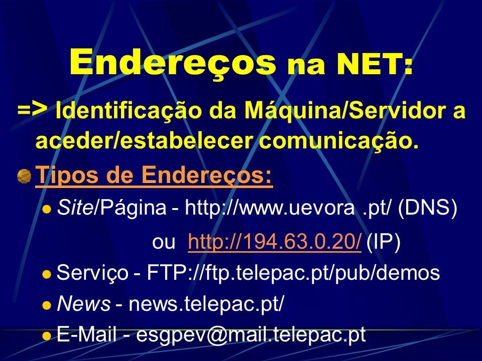 Endereços na NET: => Identificação da Máquina/Servidor a aceder/estabelecer comunicação. Tipos de Endereços: