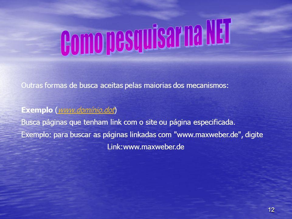 Como pesquisar na NET Outras formas de busca aceitas pelas maiorias dos mecanismos: Exemplo (www.domínio.dot)