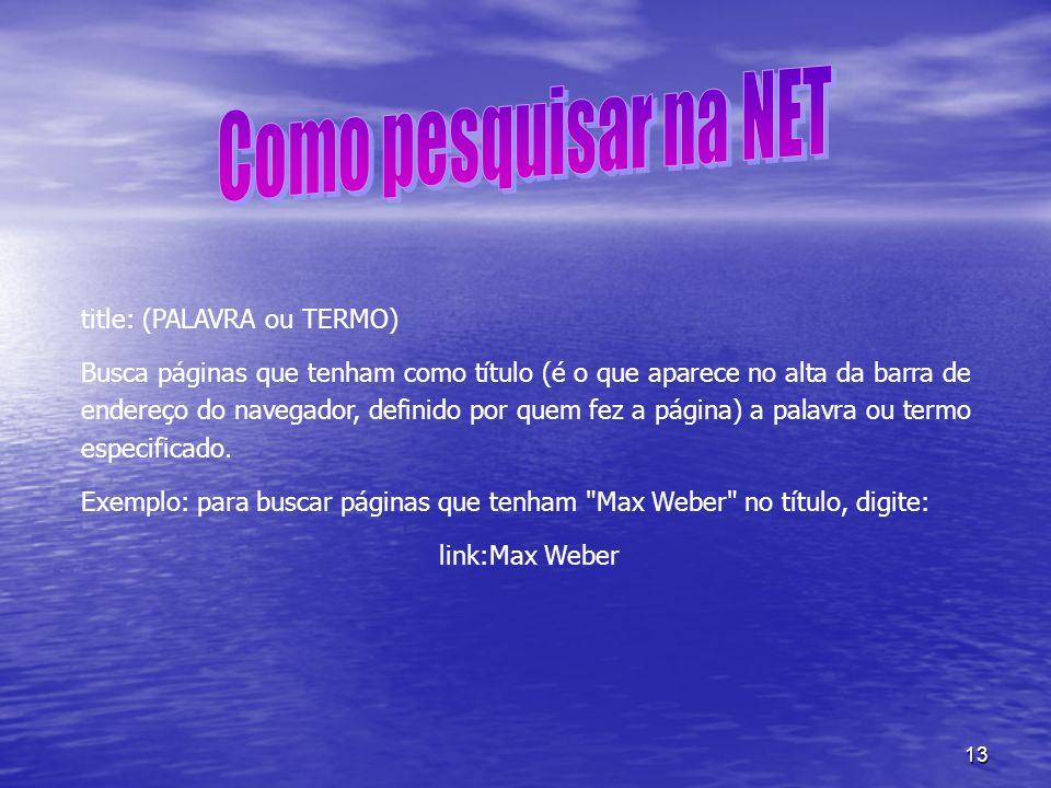 Como pesquisar na NET title: (PALAVRA ou TERMO)
