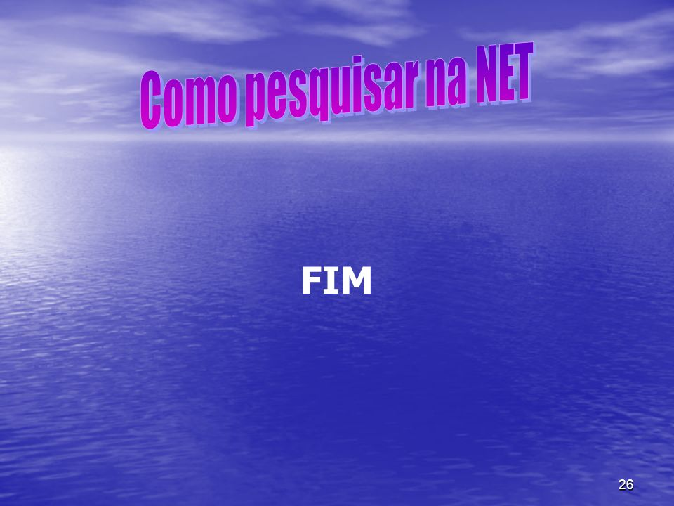 Como pesquisar na NET FIM
