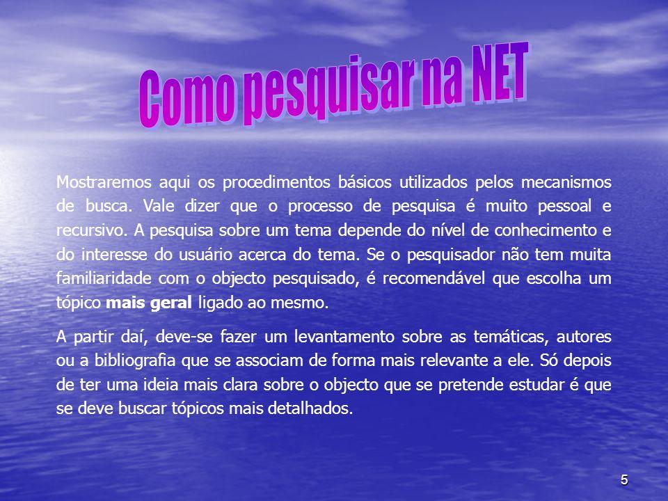 Como pesquisar na NET