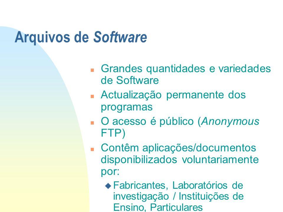 Arquivos de Software Grandes quantidades e variedades de Software