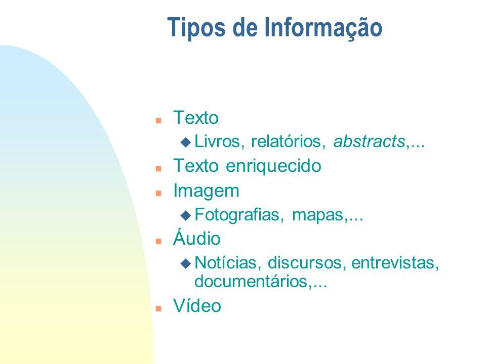 Tipos de Informação Texto Texto enriquecido Imagem Áudio Vídeo