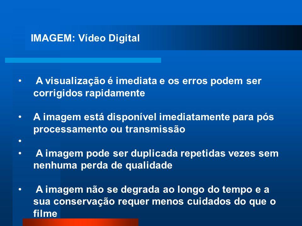 IMAGEM: Vídeo Digital A visualização é imediata e os erros podem ser corrigidos rapidamente.