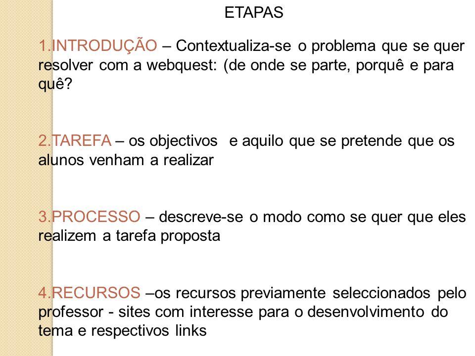 ETAPAS INTRODUÇÃO – Contextualiza-se o problema que se quer resolver com a webquest: (de onde se parte, porquê e para quê