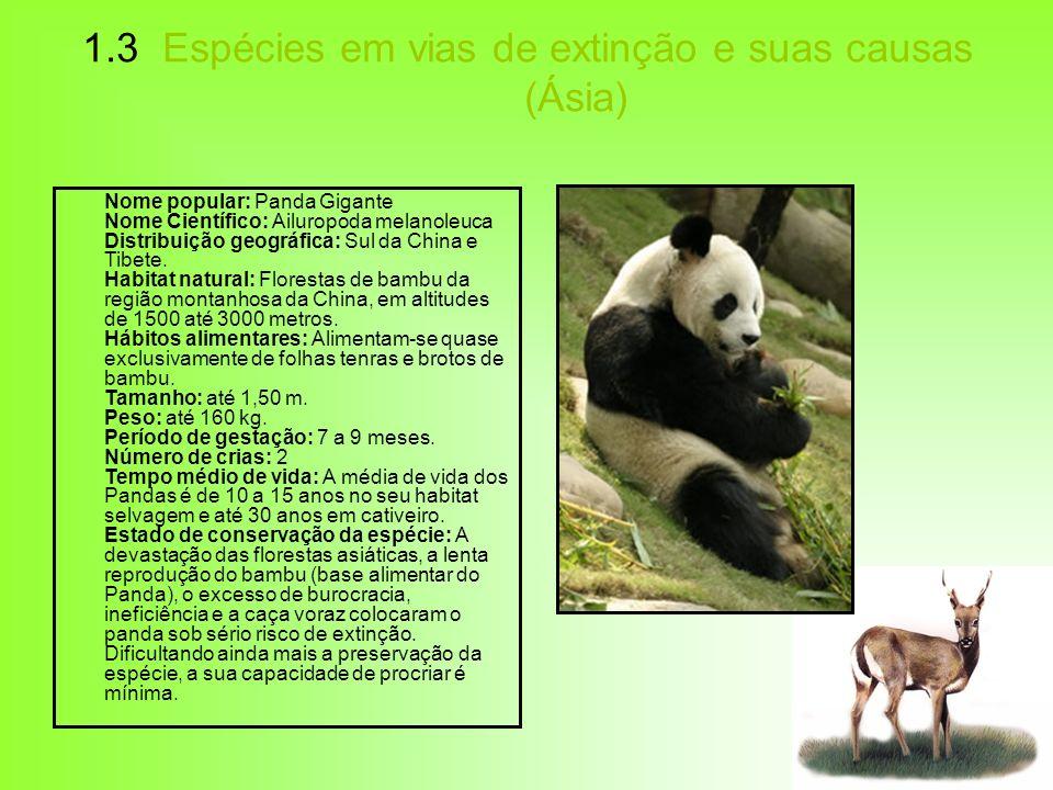 1.3 Espécies em vias de extinção e suas causas (Ásia)