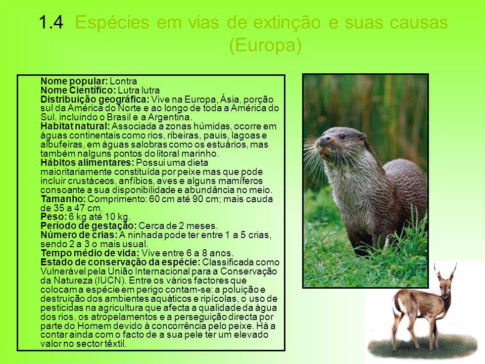 1.4 Espécies em vias de extinção e suas causas (Europa)