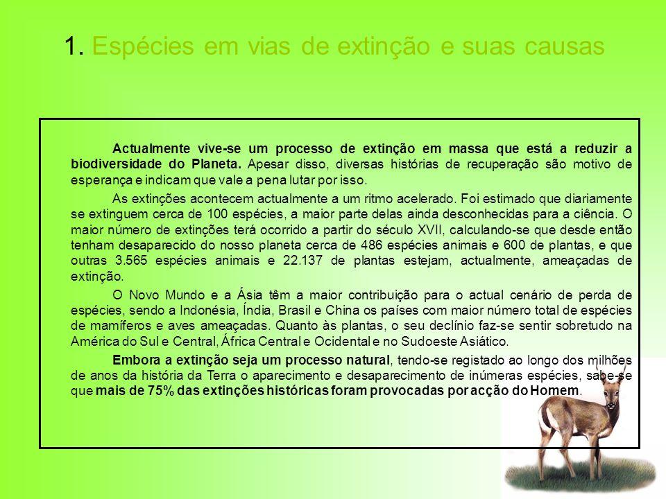1. Espécies em vias de extinção e suas causas