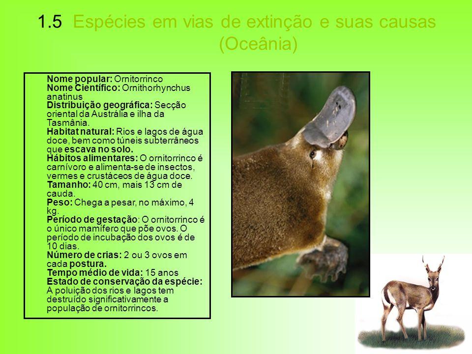 1.5 Espécies em vias de extinção e suas causas (Oceânia)