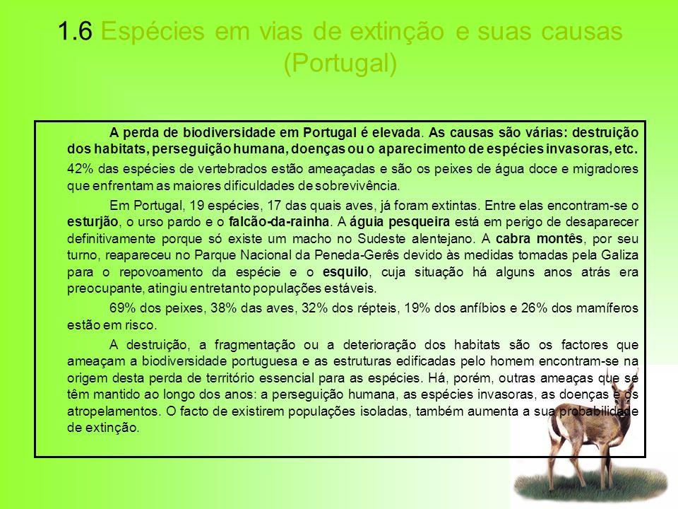 1.6 Espécies em vias de extinção e suas causas (Portugal)