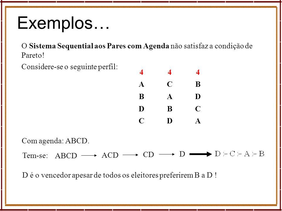 Exemplos… O Sistema Sequential aos Pares com Agenda não satisfaz a condição de Pareto! Considere-se o seguinte perfil: