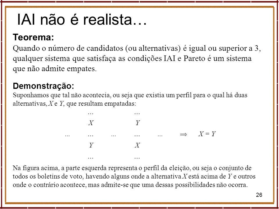 IAI não é realista… Teorema: