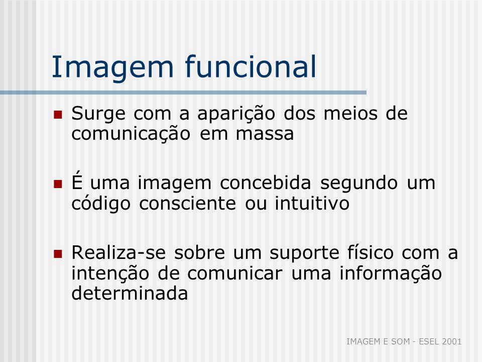 Imagem funcional Surge com a aparição dos meios de comunicação em massa. É uma imagem concebida segundo um código consciente ou intuitivo.