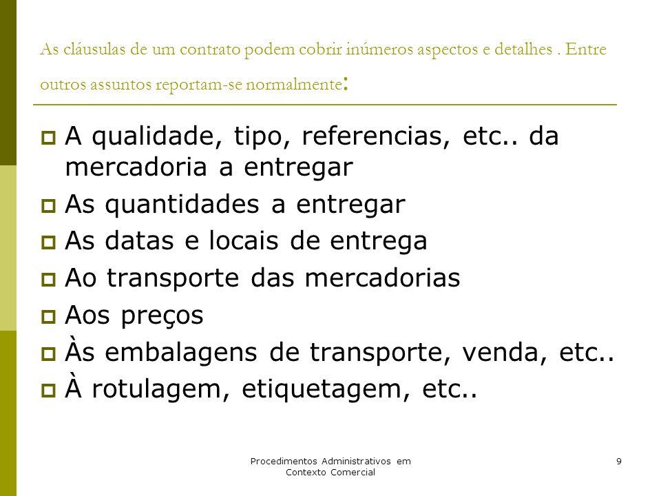 Procedimentos Administrativos em Contexto Comercial