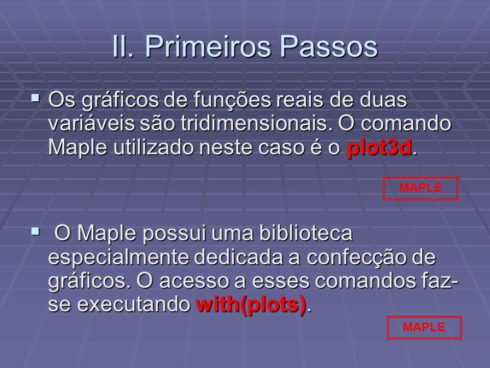 II. Primeiros Passos Os gráficos de funções reais de duas variáveis são tridimensionais. O comando Maple utilizado neste caso é o plot3d.