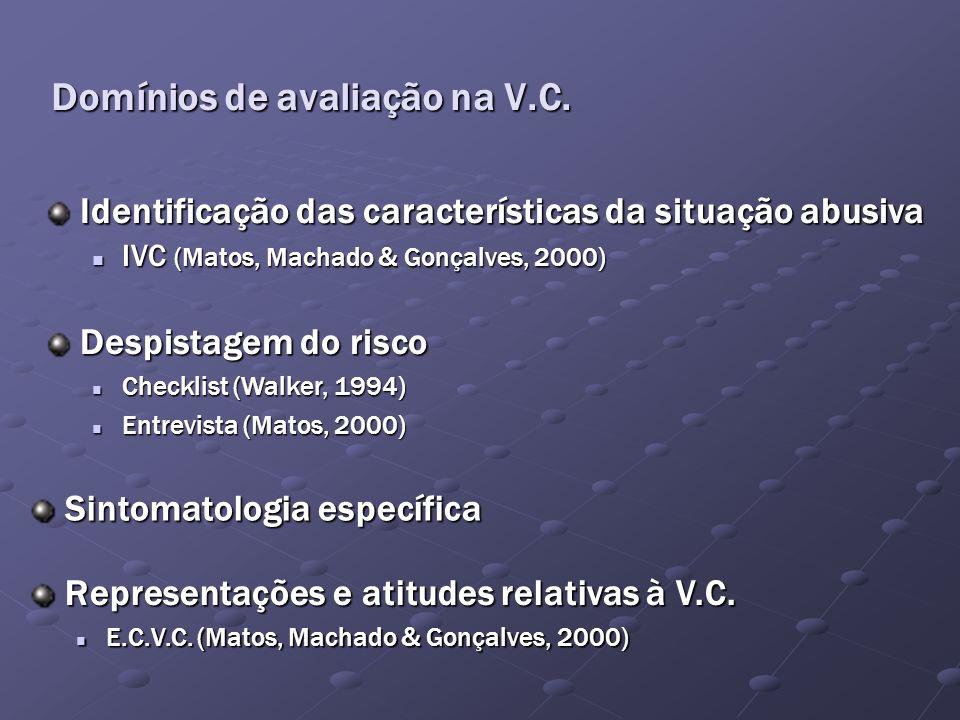 Domínios de avaliação na V.C.