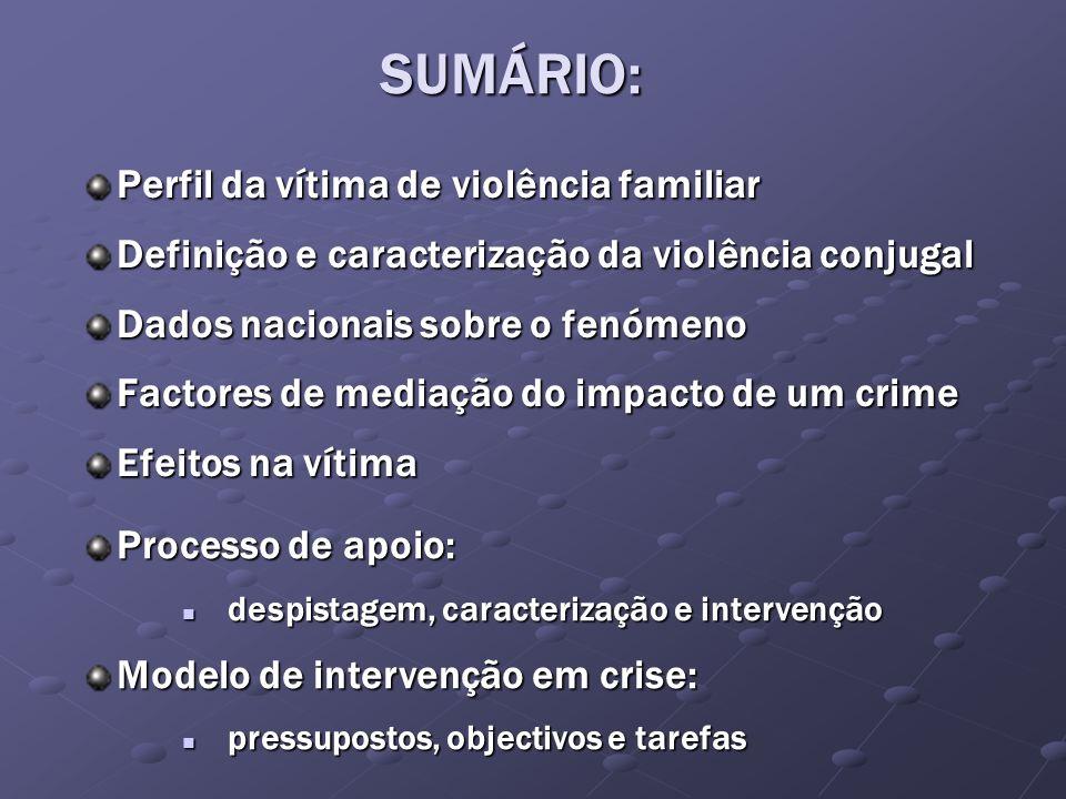 SUMÁRIO: Perfil da vítima de violência familiar