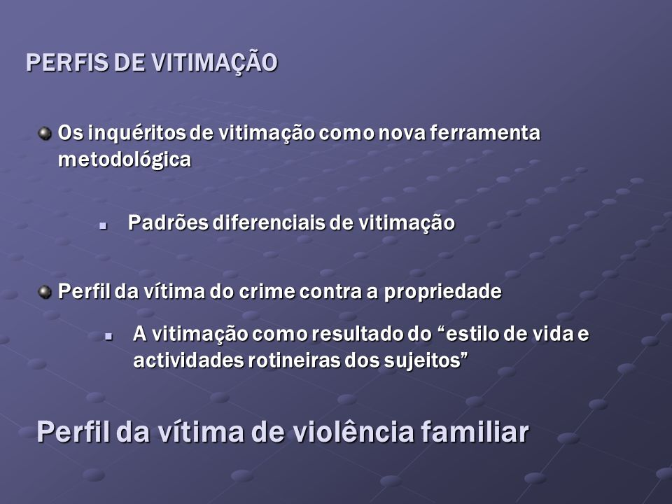 Perfil da vítima de violência familiar