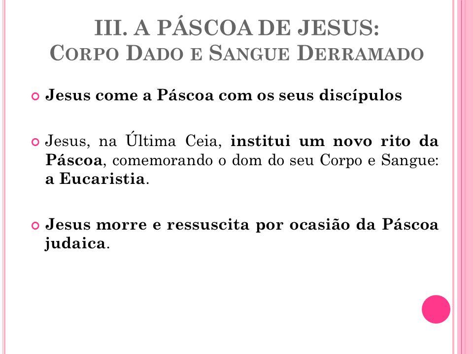 III. A PÁSCOA DE JESUS: Corpo Dado e Sangue Derramado