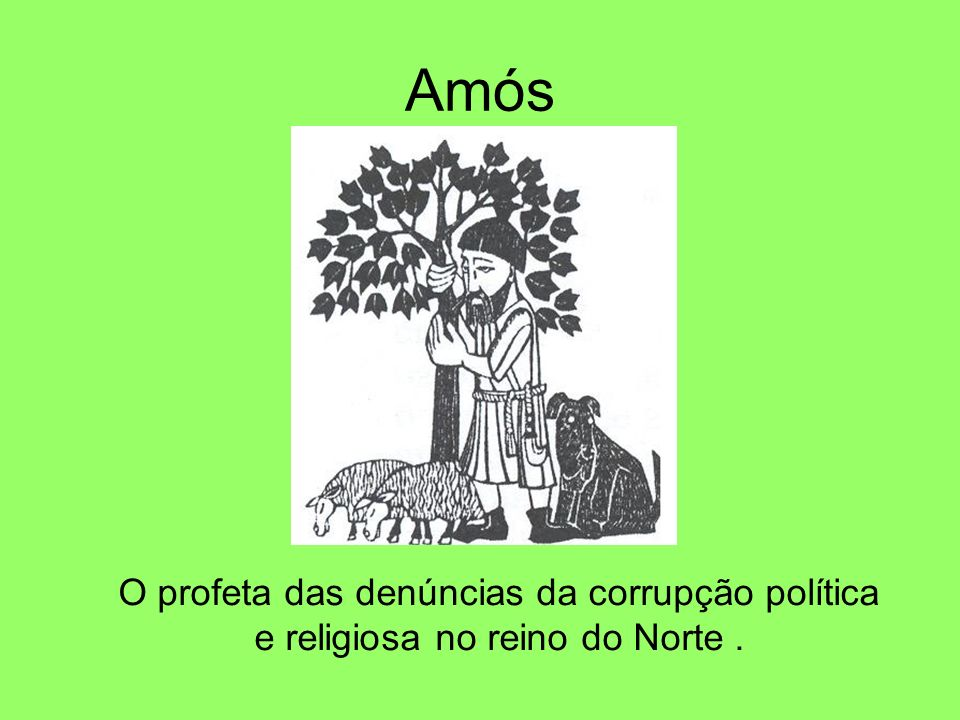 Amós O profeta das denúncias da corrupção política e religiosa no reino do Norte .